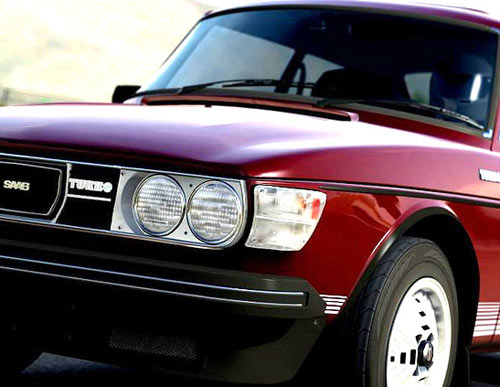 Beautiful Cardinal Red Saab 99 Turbo from Forza Motorsport Xbox game.
